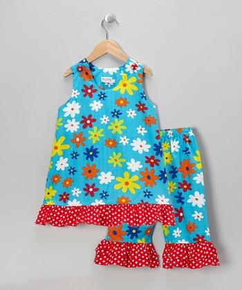 Blue & Red Floral Top & Capri Pants - Infant, Toddler & Girls