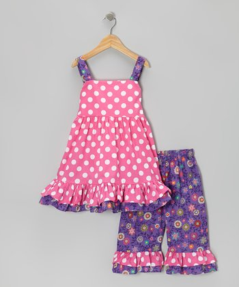 Pink & Purple Dot Tie-Back Tunic & Capri Pants - Infant, Toddler & Girls