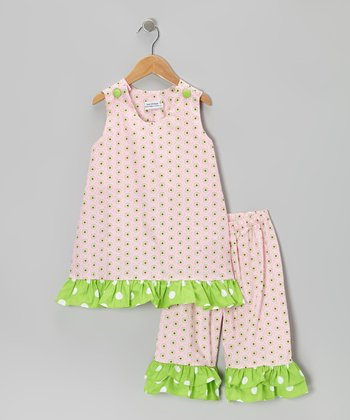 Light Pink & Green Top & Capri Pants - Infant, Toddler & Girls