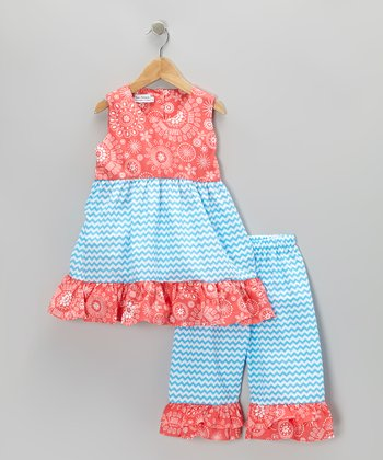 Red & Blue Tie-Back Tunic & Capri Pants - Toddler & Girls