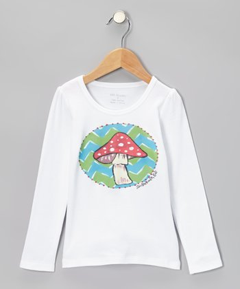 White & Green Mushroom Tee - Infant, Toddler & Kids