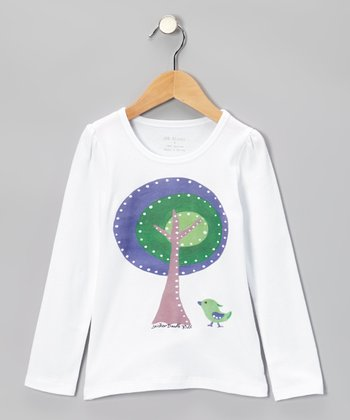 White & Blue Tree Tee - Infant, Toddler & Girls