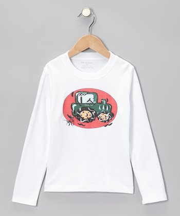 White & Red Tractor Tee - Infant, Toddler & Boys