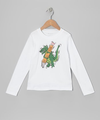 White & Green Dinosaur Tee - Infant, Toddler & Boys