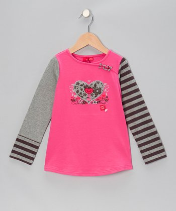 Hot Pink Floral Heart Top - Toddler & Girls