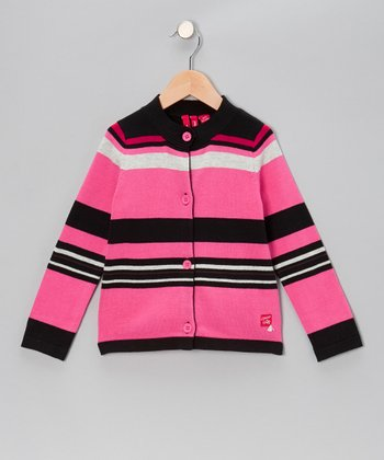 Hot Pink Stripe Cardigan - Toddler & Girls
