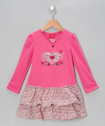 Hot Pink Heart Ruffle Dress - Toddler & Girls