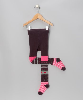 Hot Pink Heart Stripe Tights - Girls