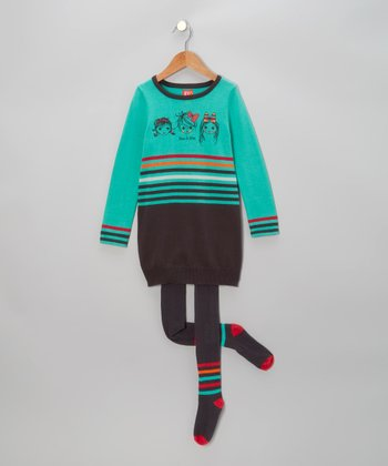 Turquoise Sweater Dress & Charcoal Tights - Toddler & Girls