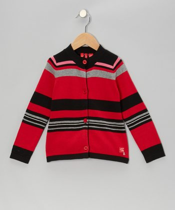 True Red Stripe Cardigan - Toddler & Girls