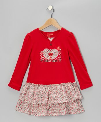 True Red Heart Ruffle Dress - Toddler & Girls