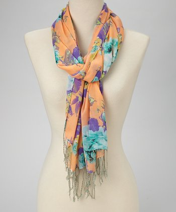 Peach Blooming Roses Scarf