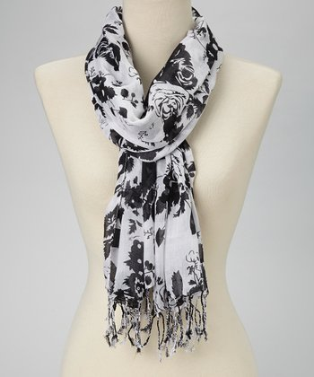 Black & White Rose Bouquet Scarf