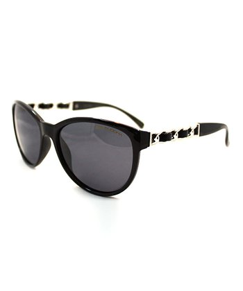 Black Chain-Link Cat-Eye Sunglasses