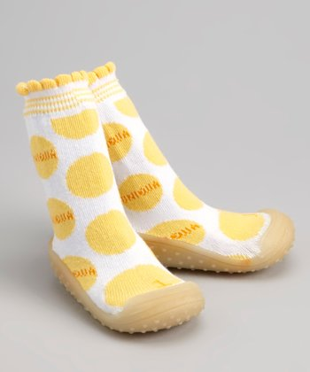 Yellow Polka Dot Gripper Shoe