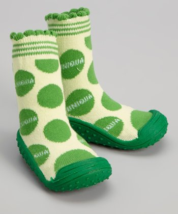 Green Polka Dot Gripper Shoe