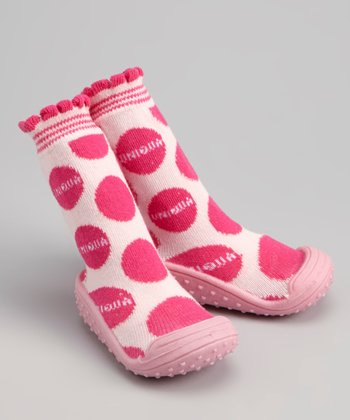 Pink Polka Dot Gripper Shoe