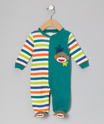 Green Stripe Sock Monkey Footie - Infant