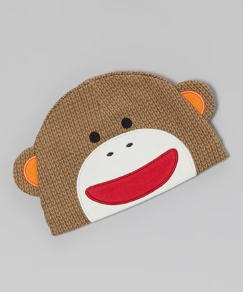 Brown Sock Monkey Beanie