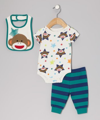 Green Star Sock Monkey Bodysuit Set - Infant