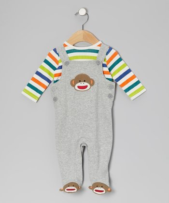 Gray Sock Monkey Overalls & Long-Sleeve Tee - Infant