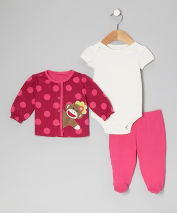 Dark Pink Polka Dot Sock Monkey Bodysuit Set - Infant