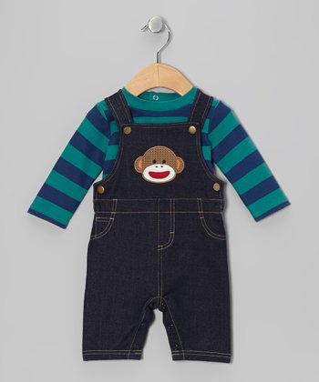 Denim Sock Monkey Overalls & Long-Sleeve Tee