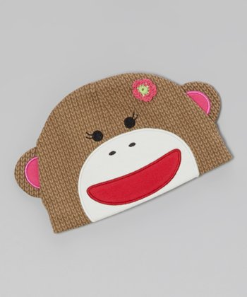 Pink & Brown Sock Monkey Beanie