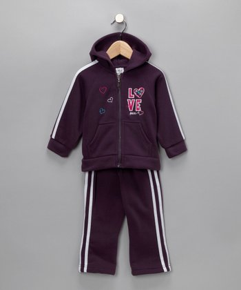 Dark Purple Love & Peace Zip-Up Hoodie & Pants - Infant, Toddler & Girls