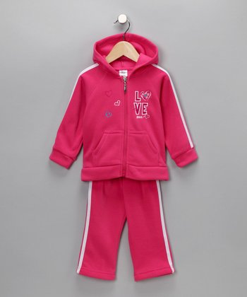 Hot Pink Love & Peace Zip-Up Hoodie & Pants - Infant, Toddler & Girls