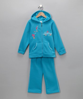 Turquoise Princess Butterfly Zip-Up Hoodie & Pants - Toddler