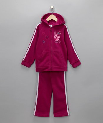 Raspberry Love & Peace Zip-Up Hoodie & Pants - Girls