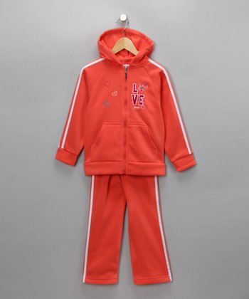 Orange Love & Peace Zip-Up Hoodie & Pants - Girls