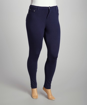 Navy Moleton Jeggings - Plus