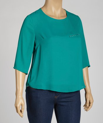Green Sheer Cape-Sleeve Top - Plus
