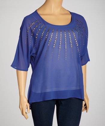 Blue Embellished Dolman Top - Plus