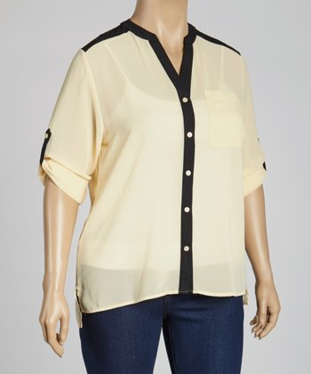 Beige & Black Button-Up Top - Plus