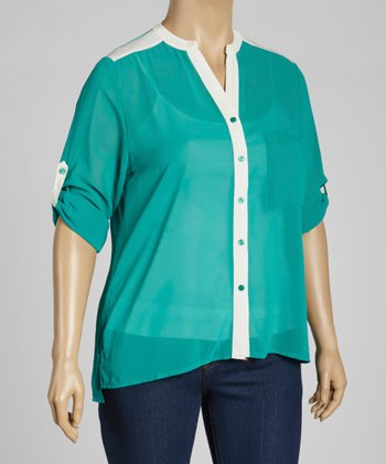 Green & White Button-Up Top - Plus