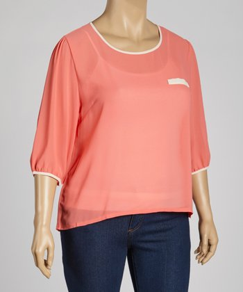 Coral Sheer Keyhole Three-Quarter Sleeve Top - Plus