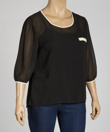 Black Sheer Keyhole Three-Quarter Sleeve Top - Plus
