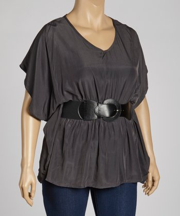 Charcoal V-Neck Top - Plus