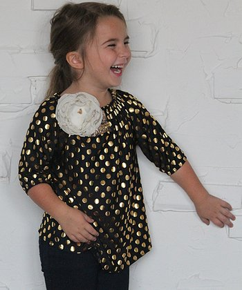 Black & Gold Polka Dot Angel Top & Flower Pin - Toddler & Girls