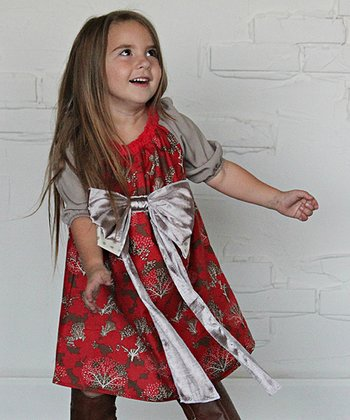 Red & Gold Frosty Forest Bow Dress - Toddler & Girls