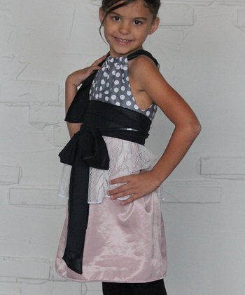 Pink & Gray Polka Dot Peplum Dress - Toddler & Girls