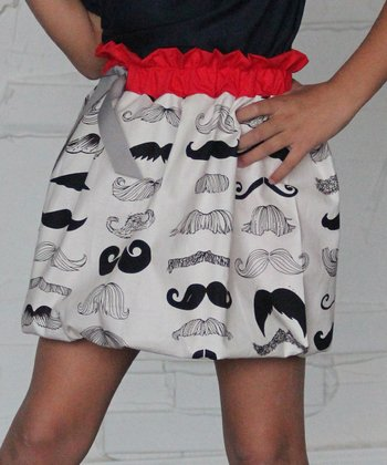Black & White Mustache Bubble Skirt - Infant, Toddler & Girls