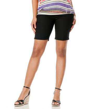 Black Cuffed Secret Fit Belly® Maternity Bermuda Shorts