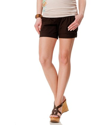 Brown Poplin Under-Belly Maternity Shorts