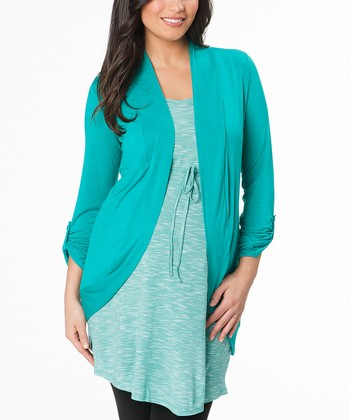 Blue Grass Draped Maternity Open Cardigan