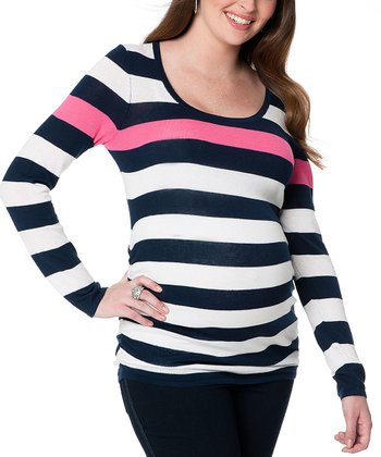 Navy & Pink Stripe Maternity Scoop Neck Sweater