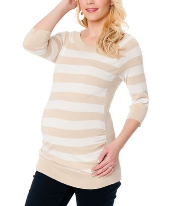 Beige & White Stripe Maternity Sweater